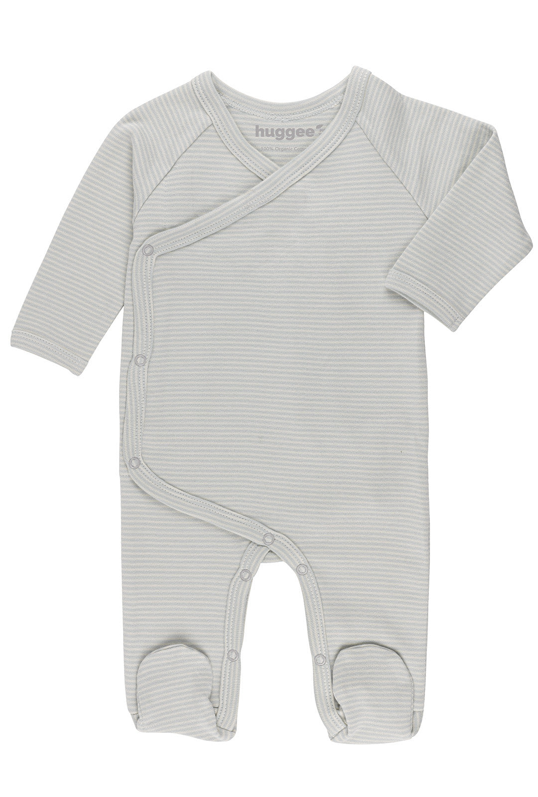 Stripes Natural and Blue Kimono Babygrow LS