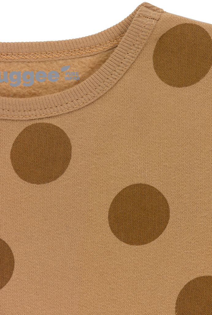 Brown Maxi Polka Dots Fleece Playsuit