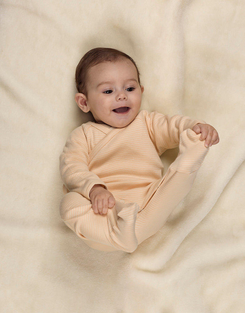 Stripes Natural and Nude Kimono Babygrow LS