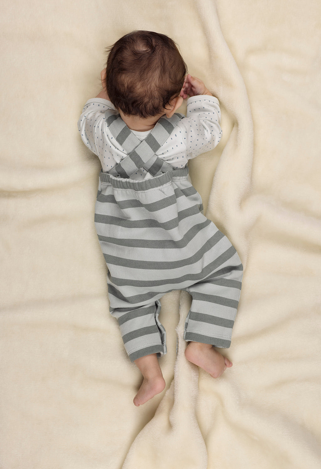 Silver Blue Stripes Dungarees