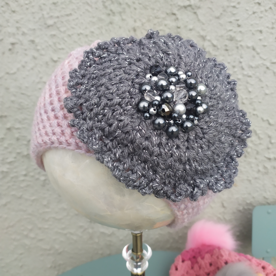 Pink hat with Overized grey flower and beads - Medium