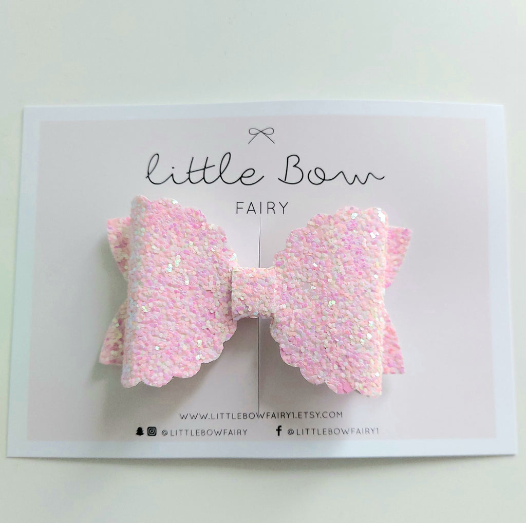 Pale Pink Sparkle Scalloped Bow Clip