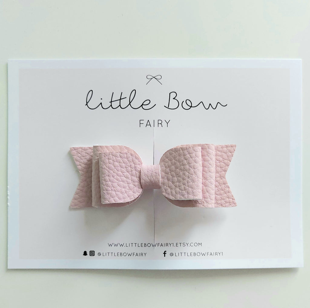 Dusty Pink Leatherette Bow Clip