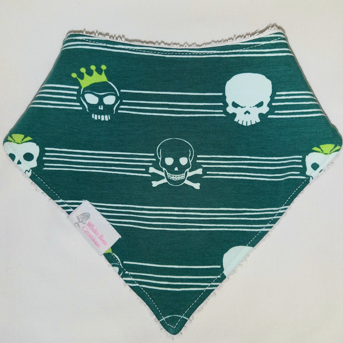 Bib - Skulls on Green