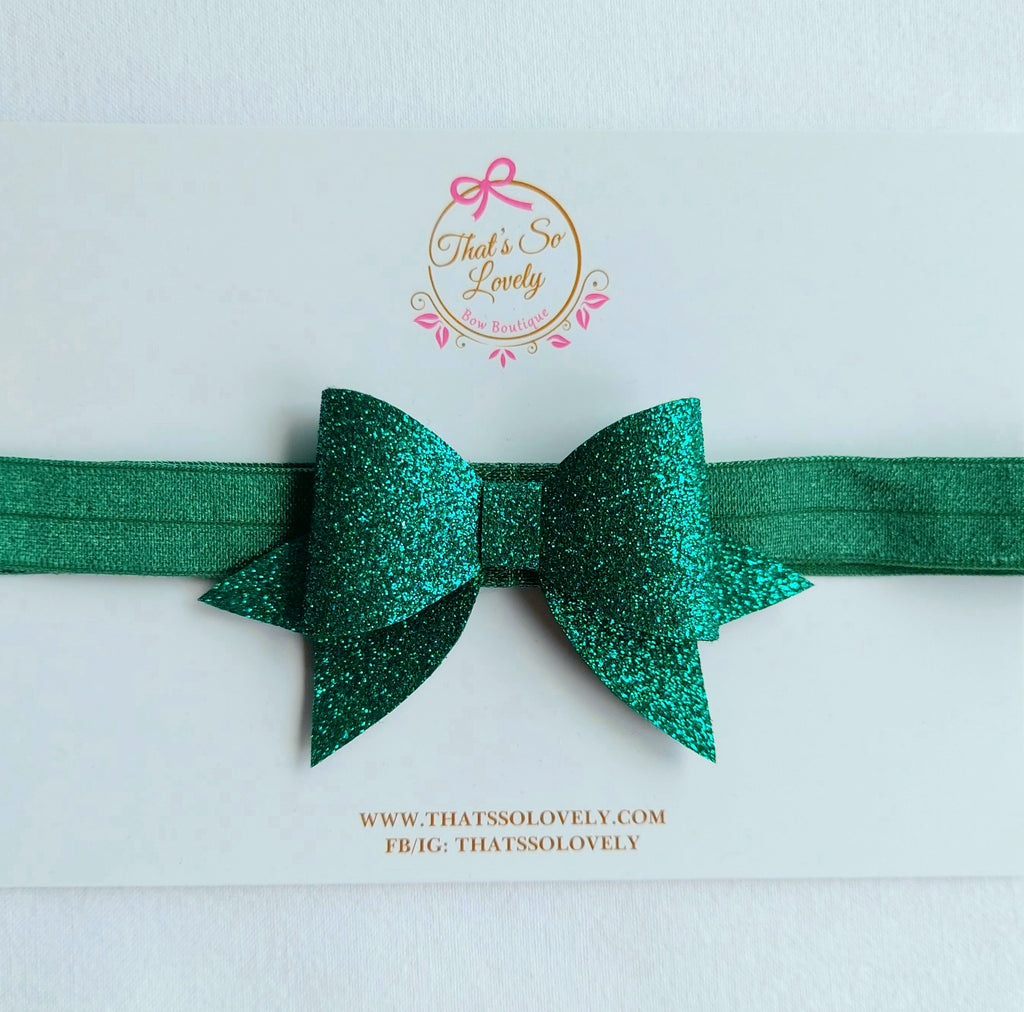 Glitter Felt Bow Headband - Dark Green