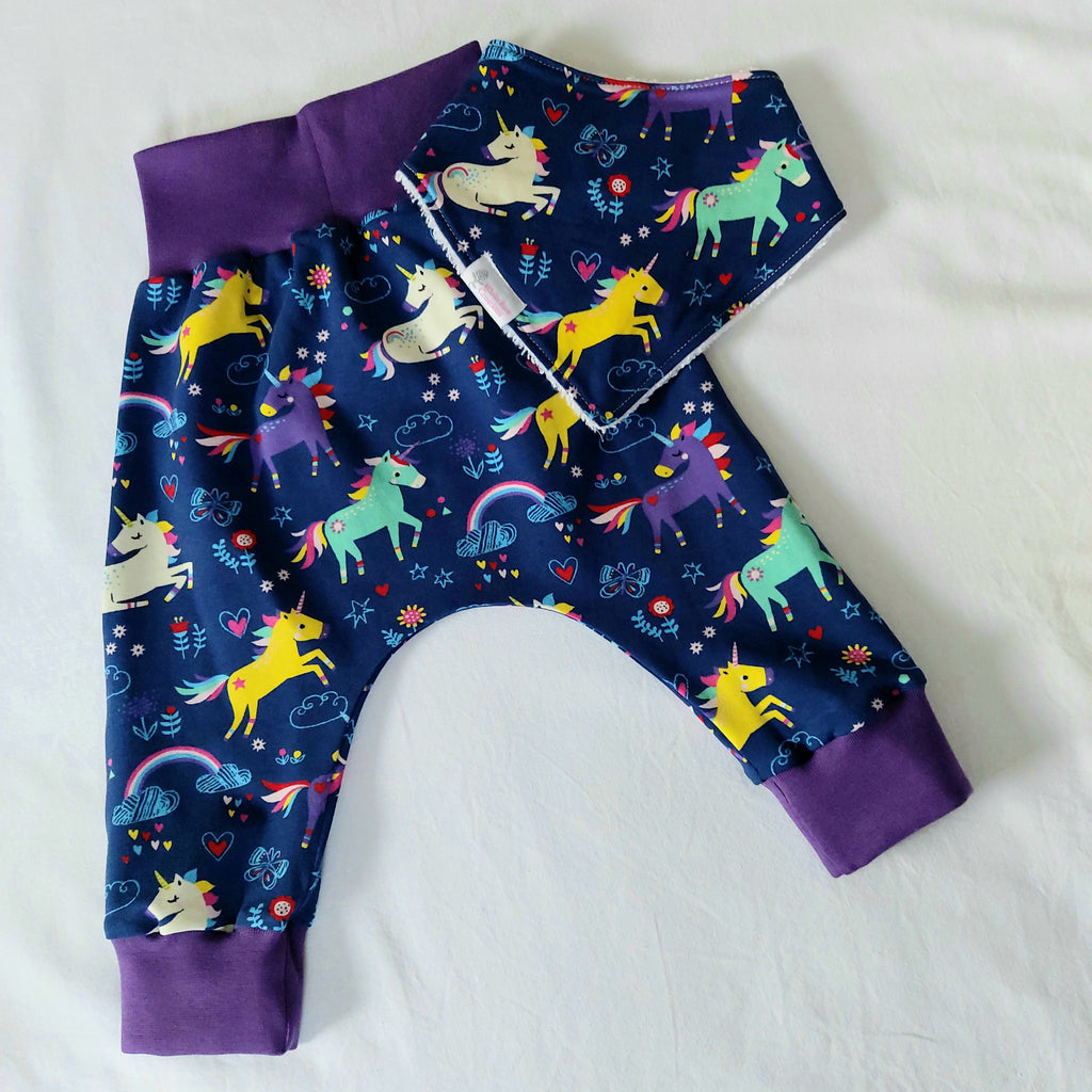 Harem Pants with Matching Bib - 12 Months & 18 Months - Navy Unicorns