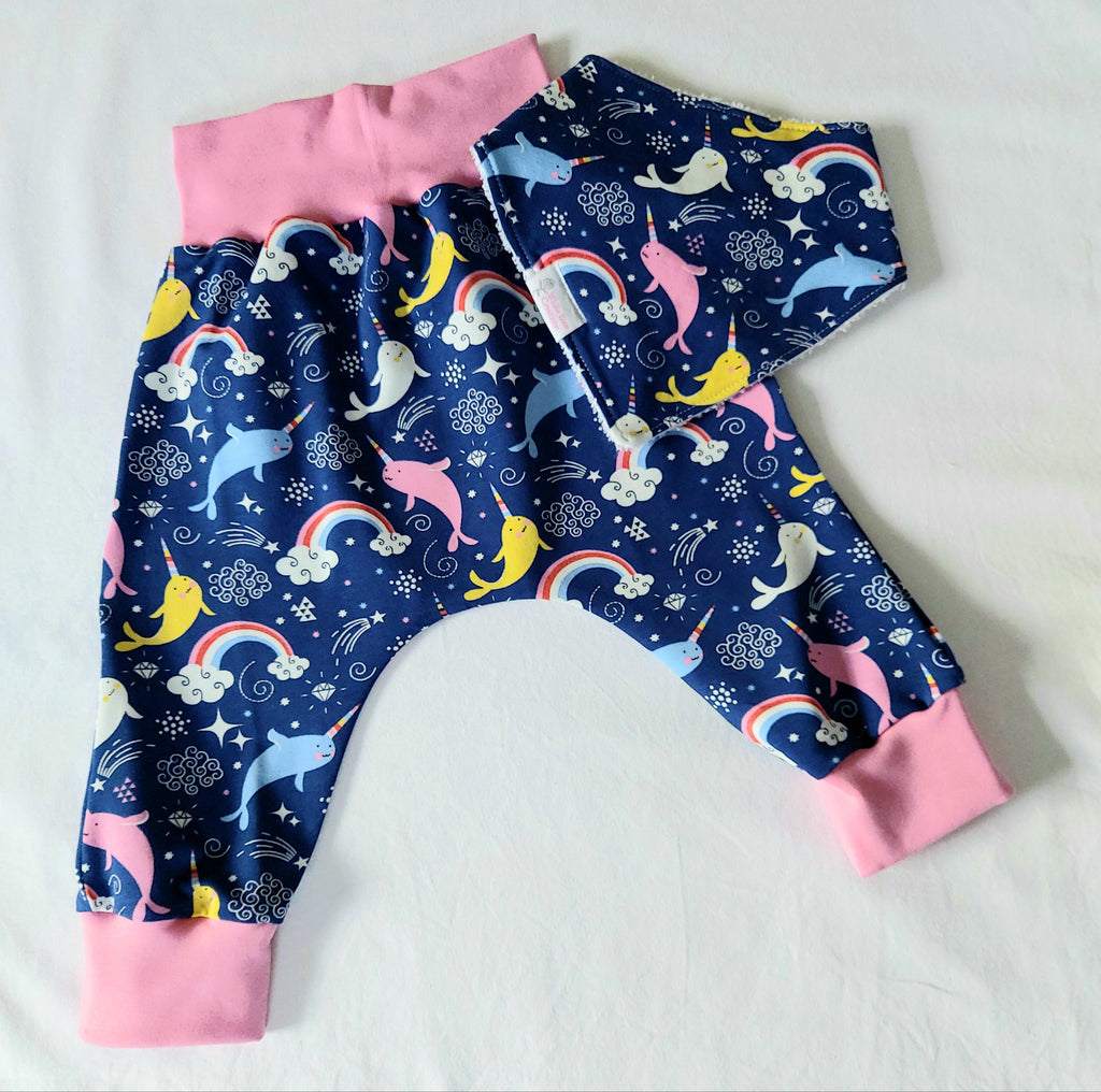 Harem Pants with Matching Bib - 12 Months - Navy with Narwhals