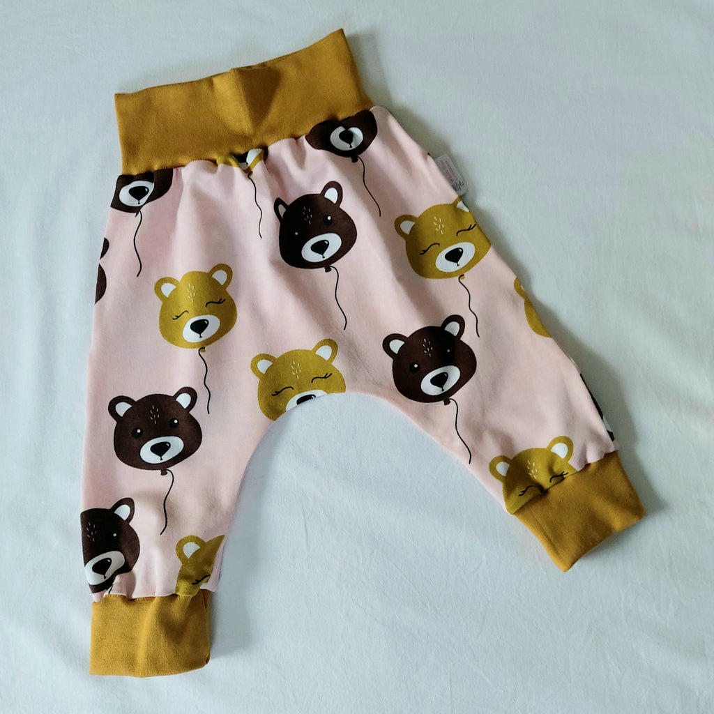 Harem Pants - 12 Months - Pink with Bears
