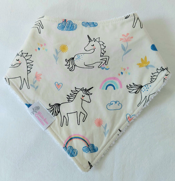 Bib - Off White with Unicorns