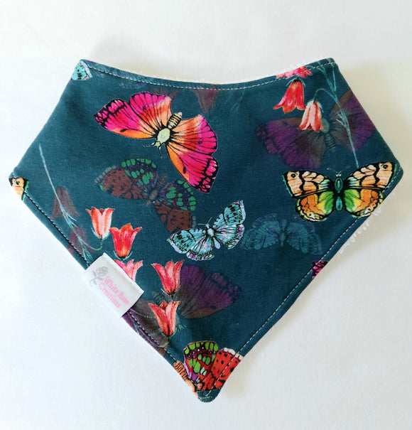 Bib - Dark Green with Butterflies