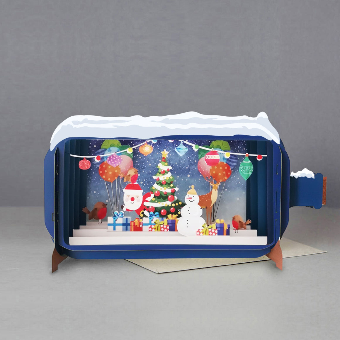 Santa & Snowman Message in a Bottle 3D Card