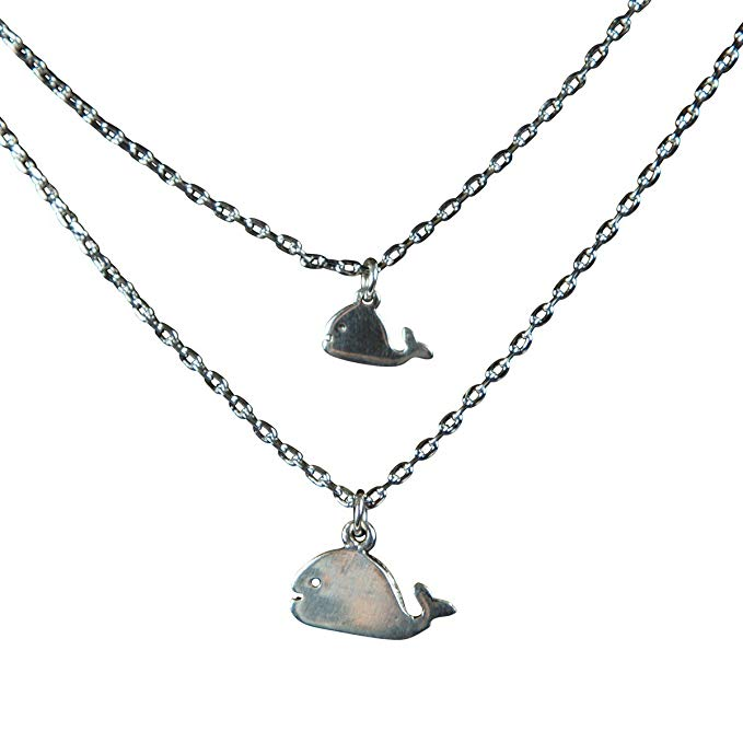 Set of 2 Mother Daughter Whale Necklace