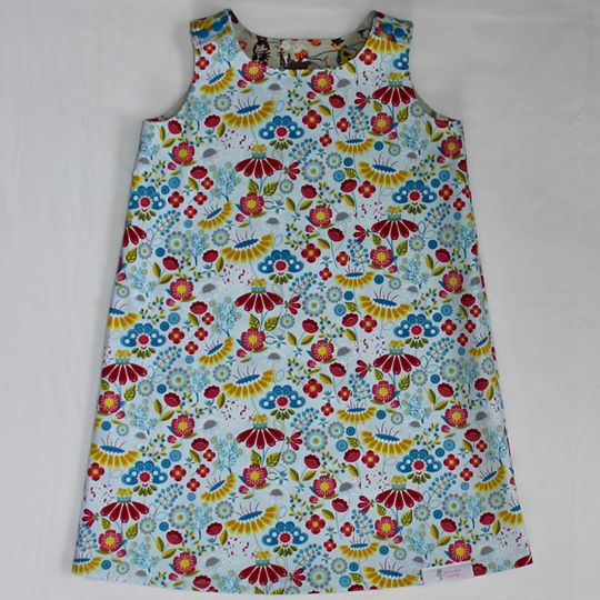 Annie Reversible Dress - Light Blue with Multi-Coloured Flowers