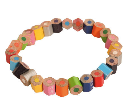 Bracelet recycled pencil crayons chopped bits