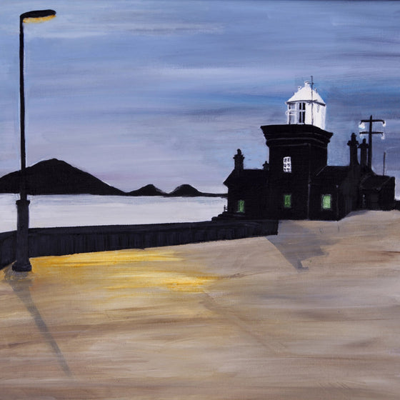 Blacksod Lighthouse in the evening 6x6 ins  - framed print by Jean Beard