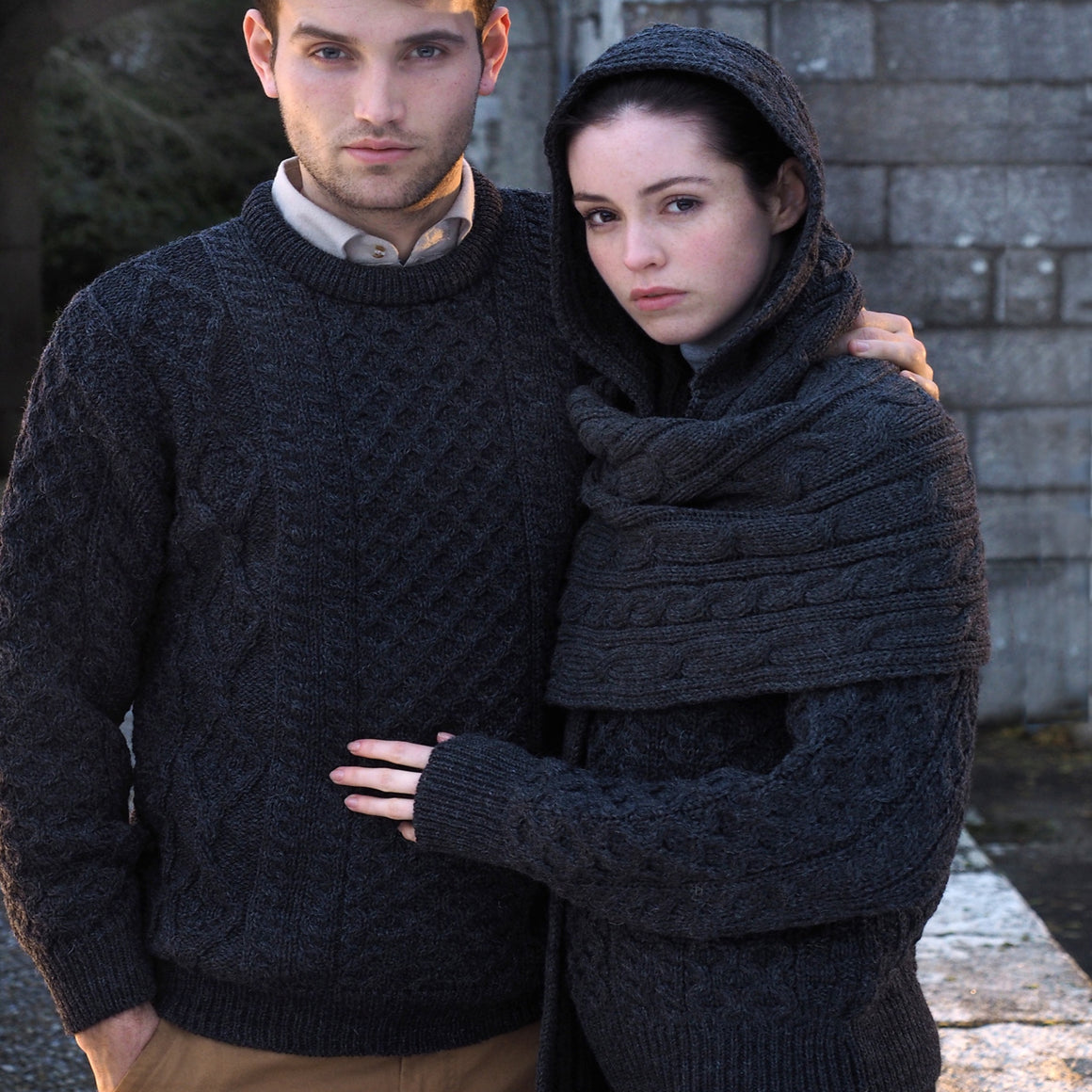 Charcoal Traditional Irish Aran Jumper