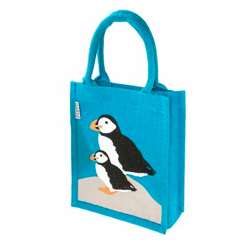 Jute shopping bag, small, puffins