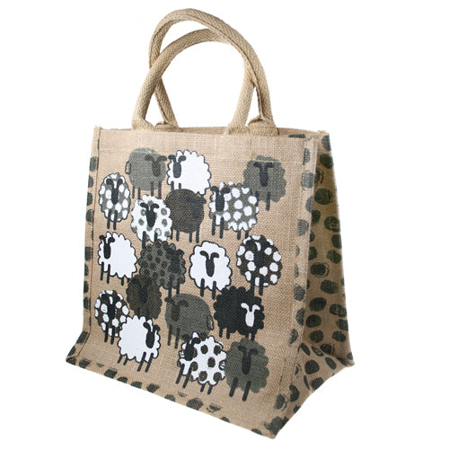 Sheep Square Jute shopping bag