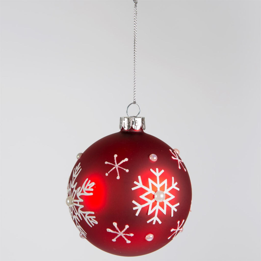 Festive Red Snowflake Bauble