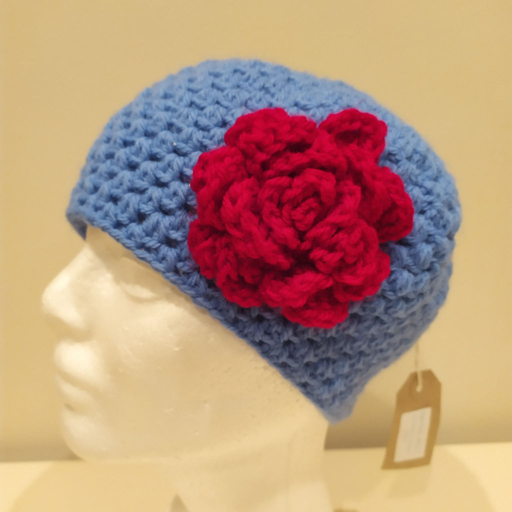 Blue Hat with Pink Rose