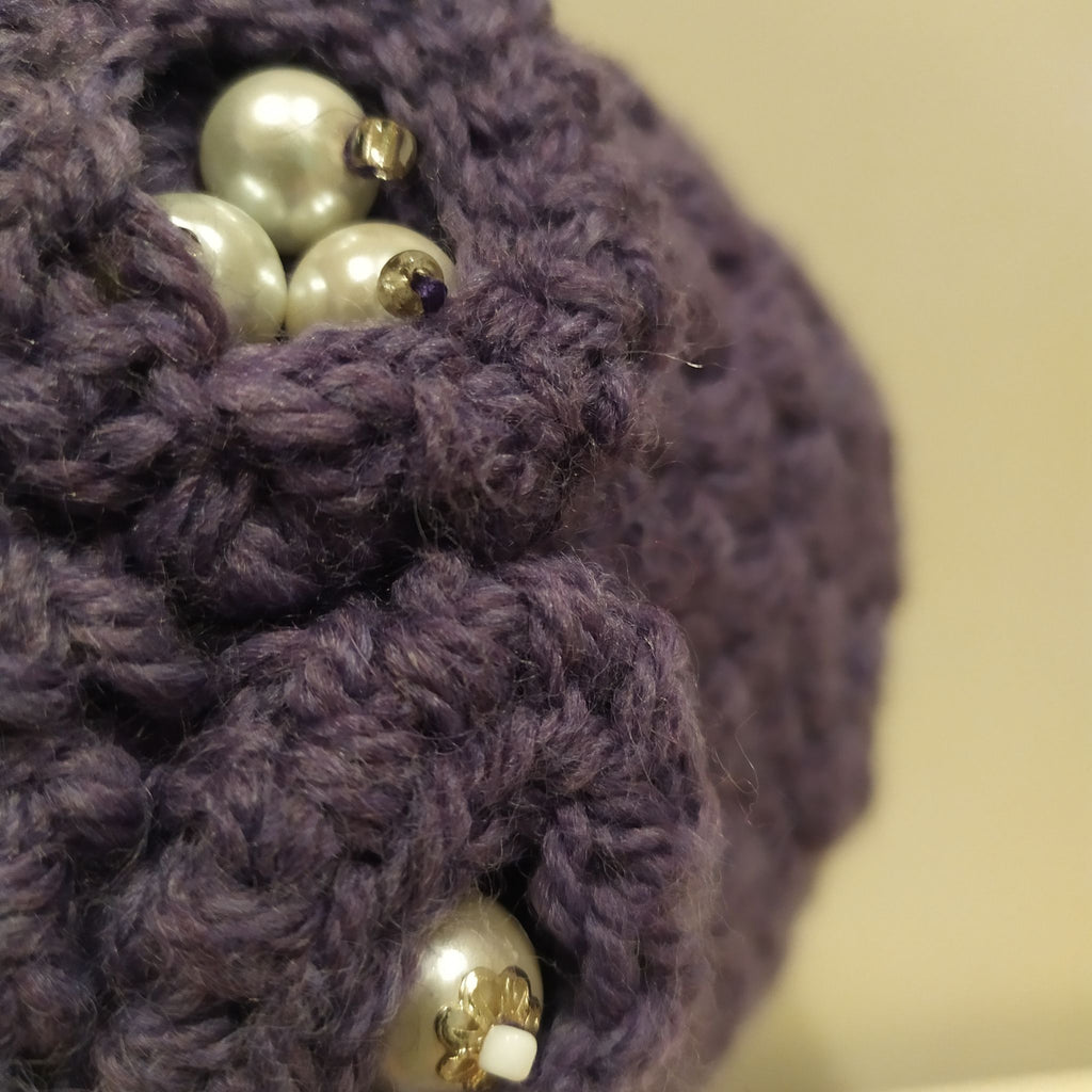 Purple 3 flower hat with pearl detail