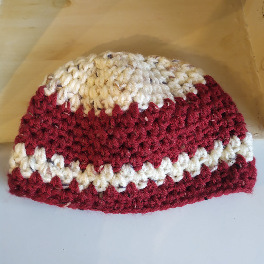 Boys hat, cream and burgundy stripes