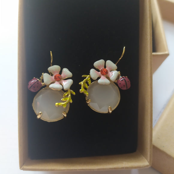 Ladybird flower earrings
