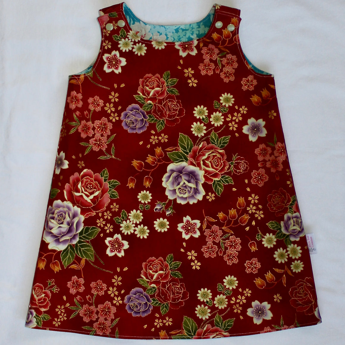 Annie Reversible Dress - Red with Multi-Coloured Flowers