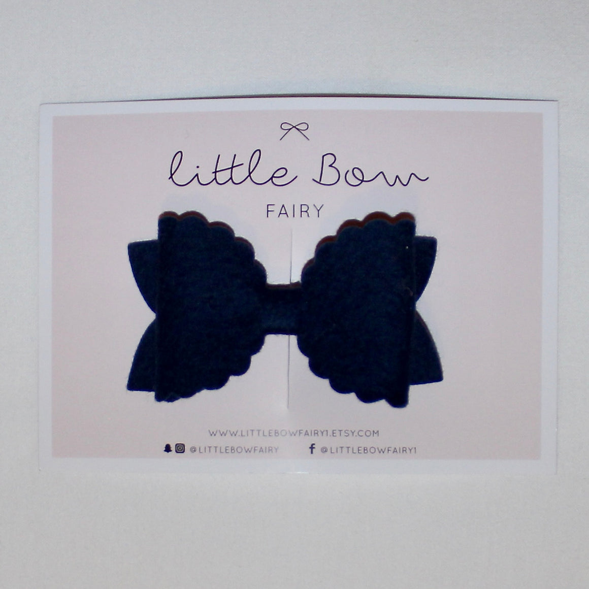 Navy Scalloped Bow Clip