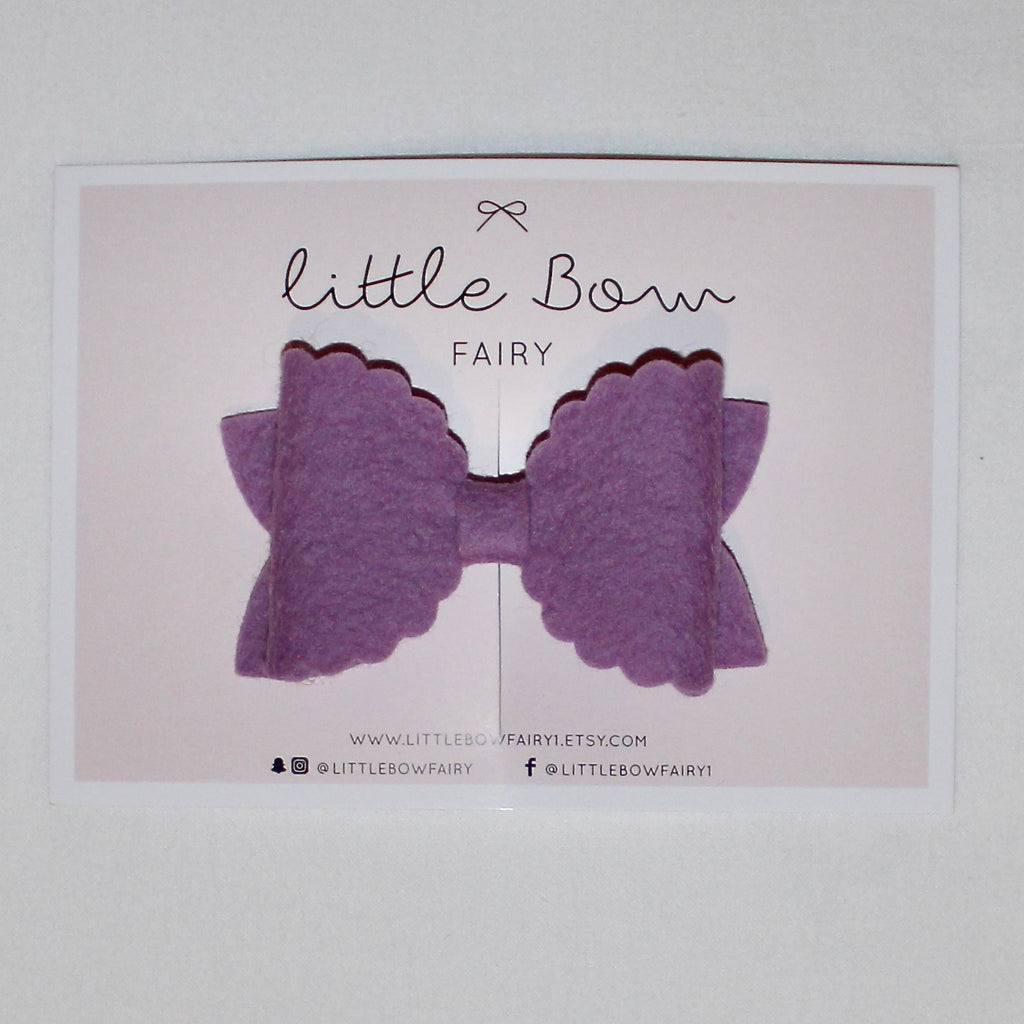 Purple Scalloped Bow Clip