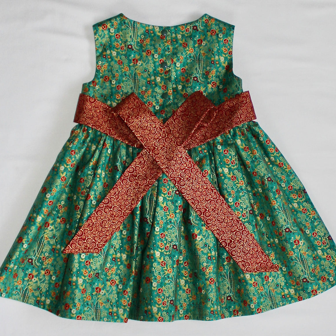 Ellie Dress - Green with Red & Orange Flowers