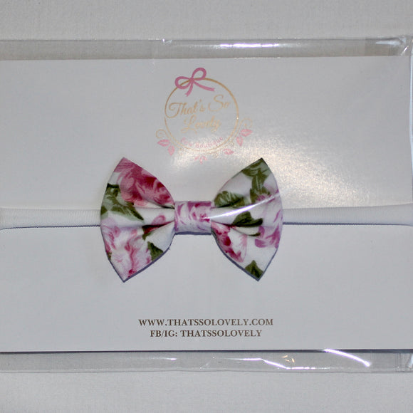 White With Pink Roses Bow Headband