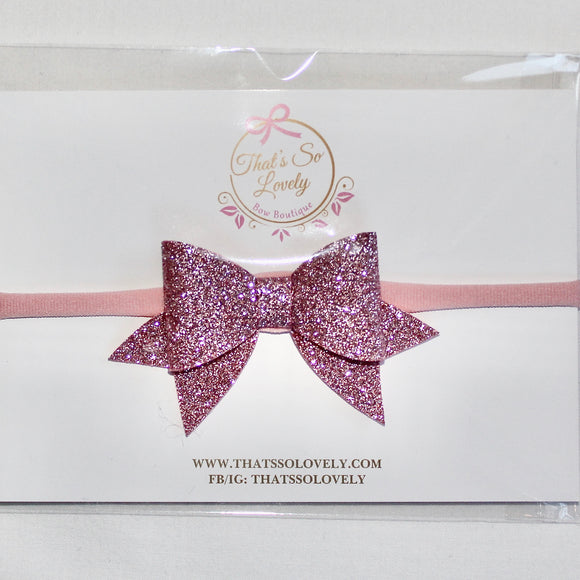 Light Pink Glitter Bow Headband