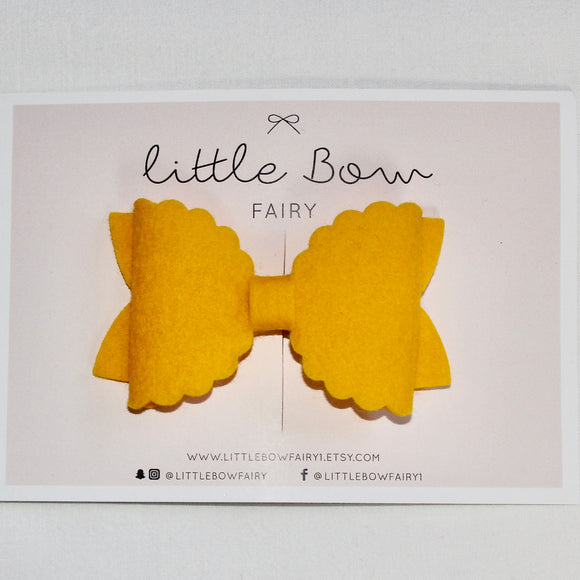 Yellow Scalloped Bow Clip