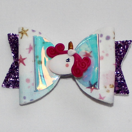 White & Purple Bow with Unicorn Centrepiece