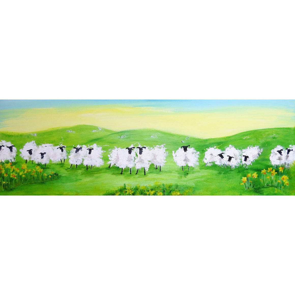 Spring Sheep 18x6 and 6x6 canvas prints