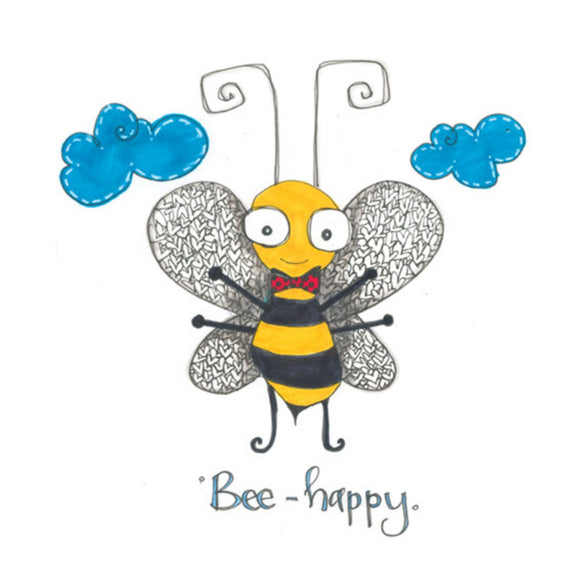 Bee Happy Hand Finished Card