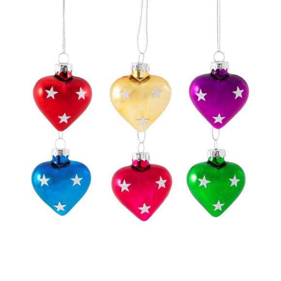 Mini Heart Baubles Set 6