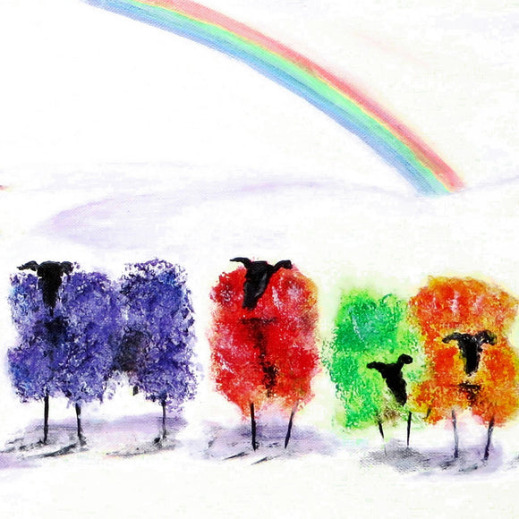 Rainbow Sheep  8x8 canvas print by Jean Beard