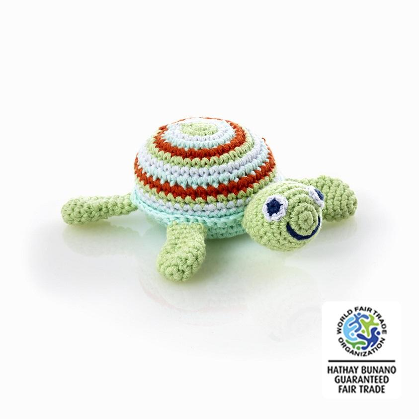 Fair Trade Crochet Cotton Turtle Baby Toy Rattle Green