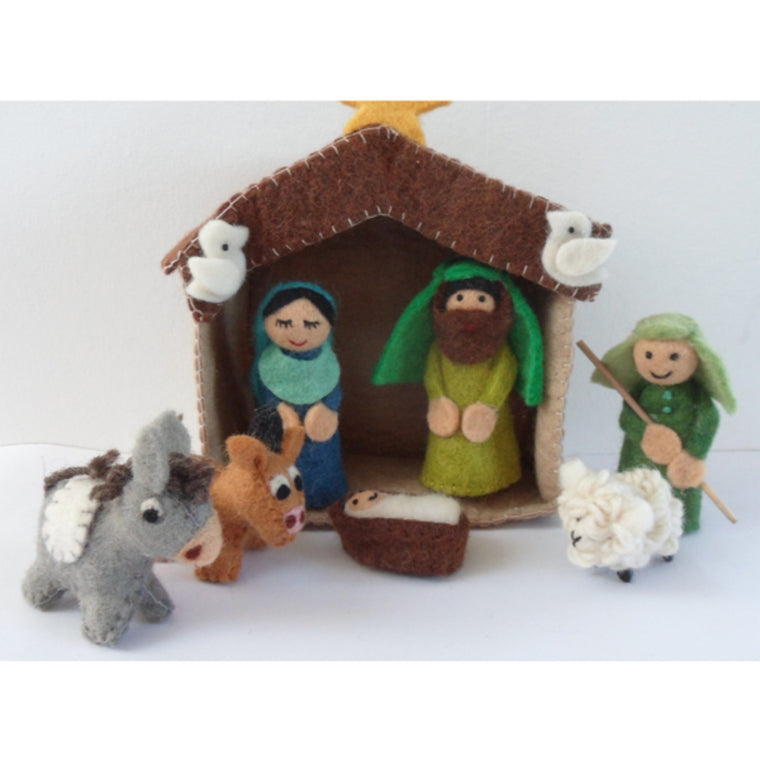 Handmade Felt Nativity with Stable