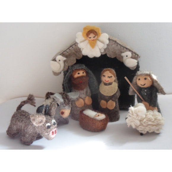 Handmade Monochrome Nativity with Stable