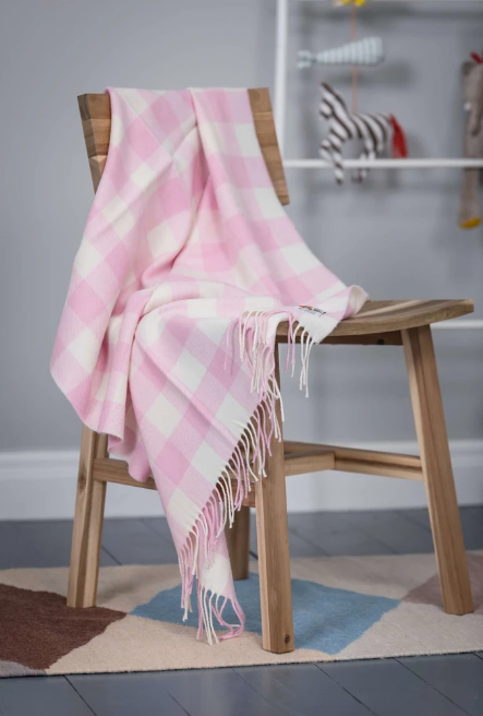 Foxford Baby Blanket Pink Check