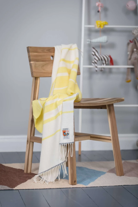 Foxford Baby Blanket Yellow, White and Grey Stripe
