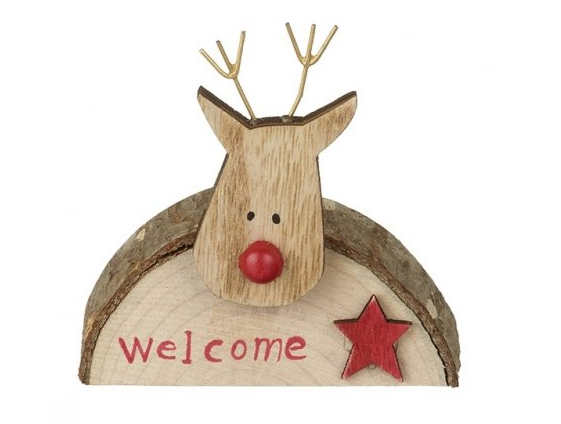 Bark Reindeer Welcome Sign