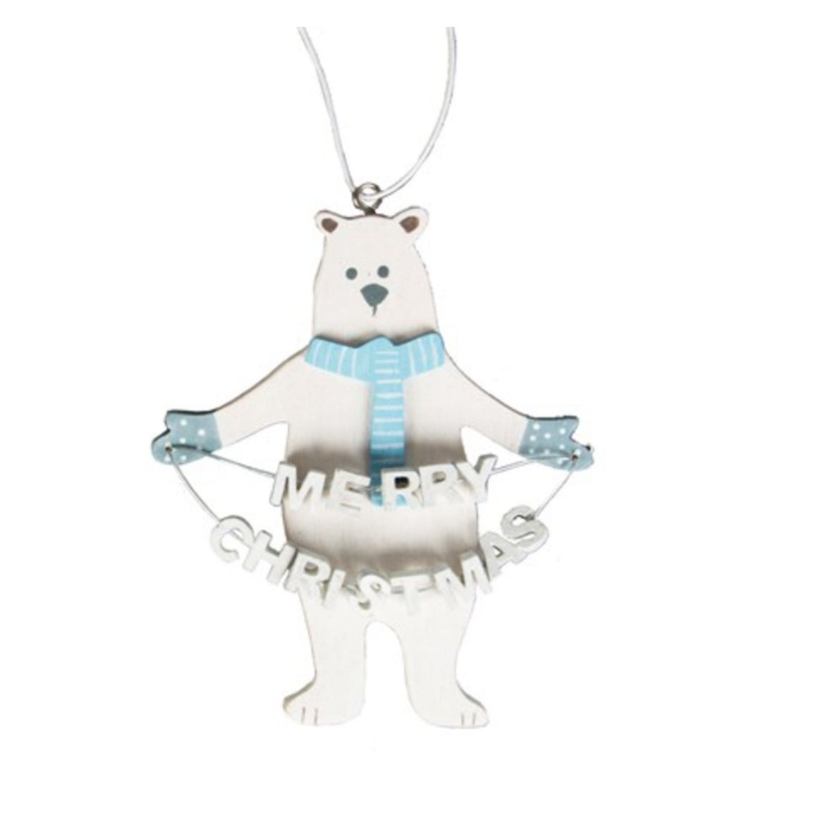 Merry Christmas Polar Bear Hanging Decoration