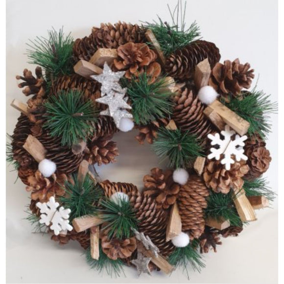 Snowflake and Pine Wreath