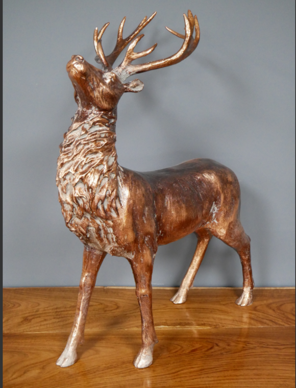 Large Antique Bronze Stag