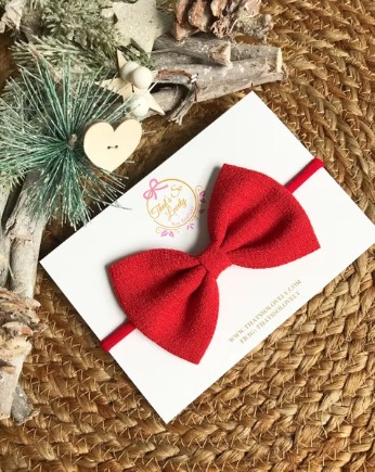 Pale Red Bow Headband
