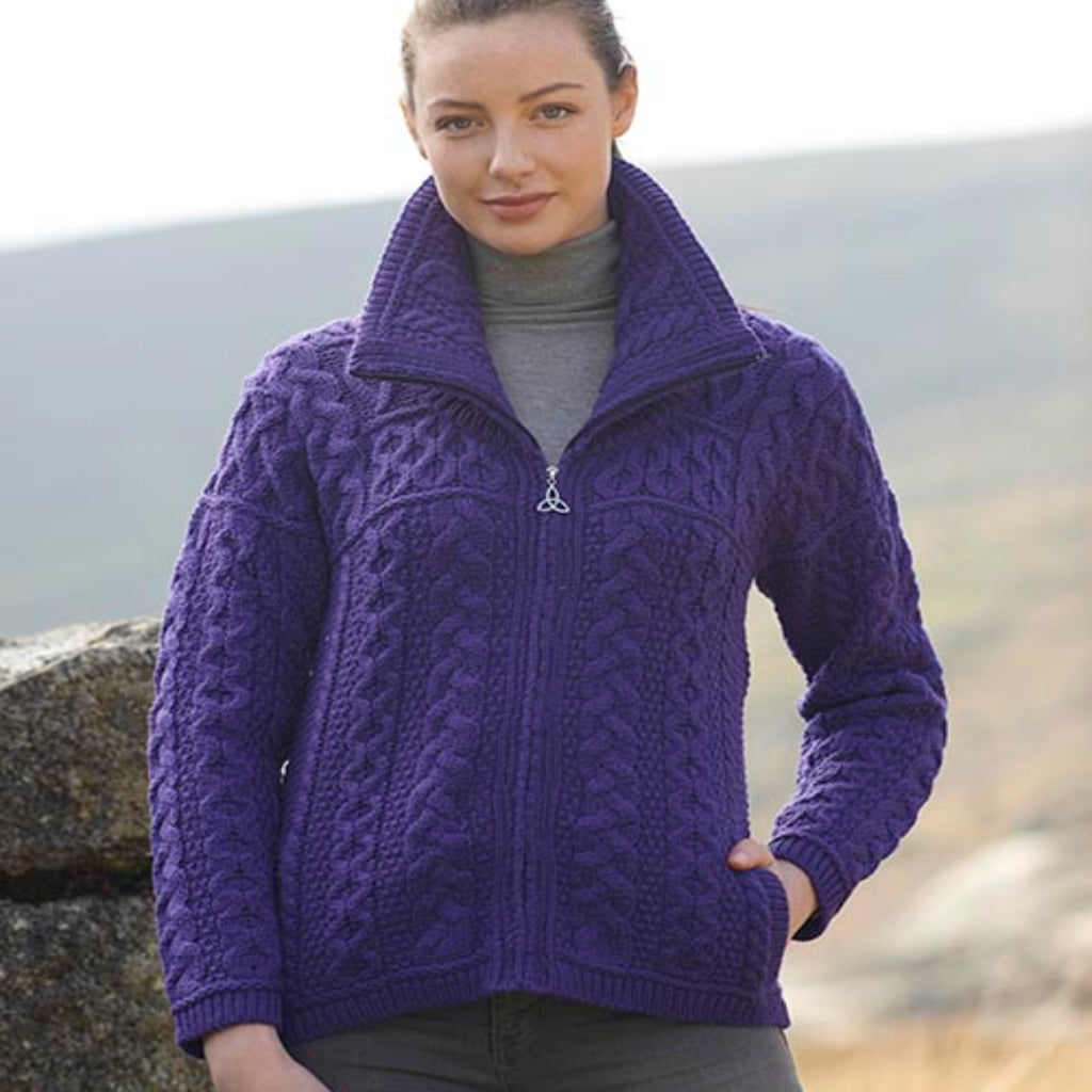 Violet Double Collar Zip Aran Cardigan